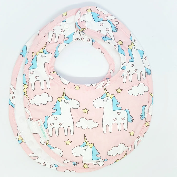 Magical Unicorn Reversible Curved Droolpads and Bib Set-Droolpads-My Babblings-White Minky-Magical Unicorn Bib only-My Babblings™