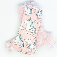 Magical Unicorn Reversible Curved Droolpads and Bib Set-Droolpads-My Babblings-Light Pink Minky-Magical Unicorn Droolpads only-My Babblings™