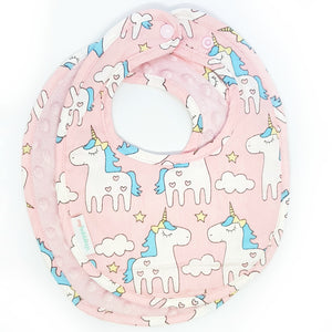 Magical Unicorn Reversible Curved Droolpads and Bib Set-Droolpads-My Babblings-Light Pink Minky-Magical Unicorn Bib only-My Babblings™