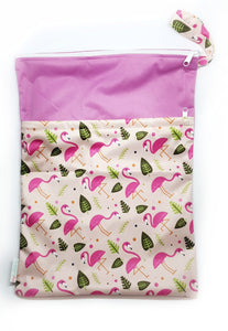 My Babblings Large Reusable Wet Bag-Wet Bag-My Babblings-Flamboyant Flamingoes-My Babblings™