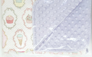 Reversible Minky Blanket (5 designs)-Baby Blanket-My Babblings™-S (70x100cm)-Dreamy Cupcake with lavender Minky-My Babblings™