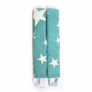 Stroller Strap Protectors-Stroller Protectors-My Babblings™-Shining Stars with light blue Minky-My Babblings™