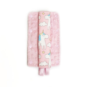 Stroller Strap Protectors-Stroller Protectors-My Babblings™-Magical Unicorn with light pink Minky-My Babblings™
