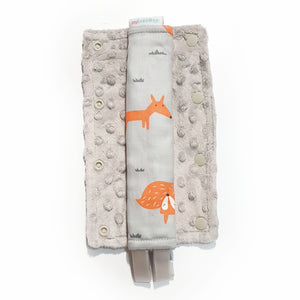 Stroller Strap Protectors-Stroller Protectors-My Babblings™-Fire Fox with light grey Minky-My Babblings™