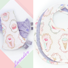 Dreamy Cupcakes Reversible Curved Droolpads and Bib Set-Droolpads-My Babblings-Lavender Minky-Dreamy Cupcakes Droolpads and Bib Matching Set-My Babblings™
