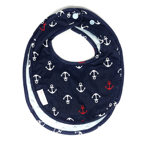 Ship Ahoy Reversible Curved Droolpads and Bib Set-Droolpads-My Babblings-Ship Ahoy Bib only-My Babblings™