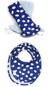 Blue Mochi Rabbit Reversible Curved Droolpads and Bib Set-Droolpads-My Babblings-Blue Mochi Rabbit Droolpads and Bib Matching Set-My Babblings™