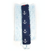 Stroller Strap Protectors-Stroller Protectors-My Babblings™-Ship Ahoy with light blue Minky-My Babblings™