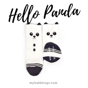 New Animal Knee High Socks with Ears-Baby Socks-My Babblings-Baby Size-Hello Panda-My Babblings™