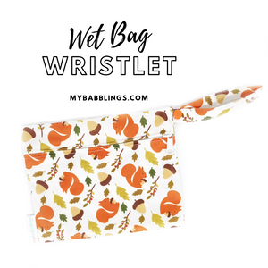 My Babblings Reusable Wet Bag Wristlet-Wet Bag-My Babblings-Squirrels Love Acorns-My Babblings™