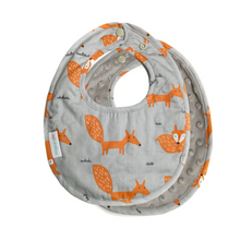 Fire Fox Reversible Curved Droolpads and Bib Set-Droolpads-My Babblings-Fire Fox in Light Grey Minky Bib-My Babblings™
