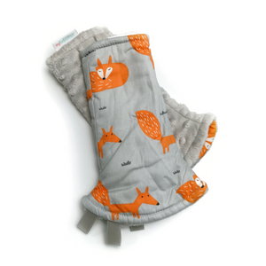 Fire Fox Reversible Curved Droolpads and Bib Set-Droolpads-My Babblings-Fire Fox in Light Grey Minky Droolpads-My Babblings™