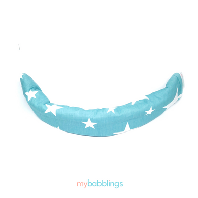 Stroller Bumper Protector-Stroller Protectors-My Babblings™-Shining Stars with light blue Minky-My Babblings™