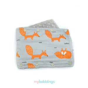 Stroller Bumper Protector-Stroller Protectors-My Babblings™-Fire Fox with light grey Minky-My Babblings™