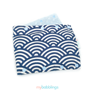 Stroller Bumper Protector-Stroller Protectors-My Babblings™-Oceanic Waves with light blue Minky-My Babblings™
