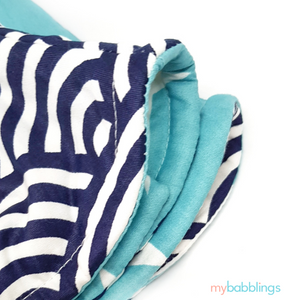 Double Prints Reversible Curved Droolpads-Droolpads-My Babblings-Blue Double Prints (Oceanic waves and Shining Stars Print)-My Babblings™