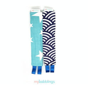 Stroller Strap Protectors-Stroller Protectors-My Babblings™-Blue Double Prints (Oceanic waves and Shining Stars Print)-My Babblings™
