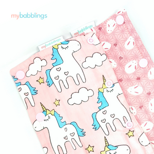 Double Prints Reversible Curved Droolpads-Droolpads-My Babblings-Pink Double Prints (Magical Unicorn and Mochi Rabbit)-My Babblings™