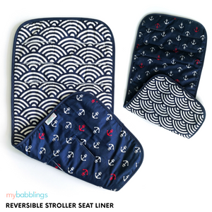 Reversible Stroller Seat Liner-Stroller Protectors-My Babblings™-Reversible Oceanic Waves and Ship Ahoy-Compact Stroller (30x66cm)-My Babblings™