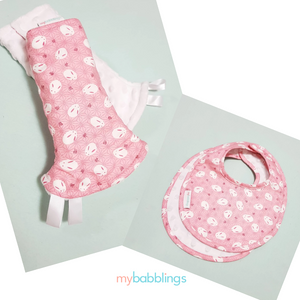 Pink Mochi Rabbit Reversible Curved Droolpads and Bib Set