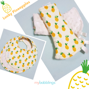 Lucky Pineapples Reversible Curved Droolpads and Bib Set-Droolpads-My Babblings-Lucky Pineapples Droolpads and Bib Matching Set-My Babblings™