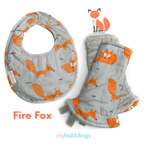 Fire Fox Reversible Curved Droolpads and Bib Set-Droolpads-My Babblings-Fire Fox in Light Grey Minky Droolpads and Bib Matching Set-My Babblings™