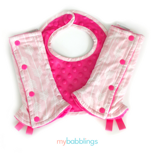 Hot Pink Arrows Reversible Curved Droolpads and Bib Set