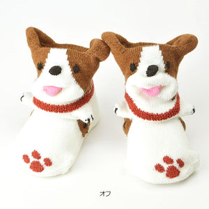 ポプキンズ 3D Pop Up Socks (Made in Japan)-Baby Socks-My Babblings-(Preorder) Red Paw Dog-My Babblings™