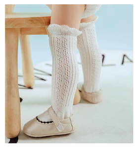 Knee High White Eyelet Lace Socks
