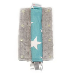 Stroller Strap Protectors-Stroller Protectors-My Babblings™-Shining Stars with light grey Minky-My Babblings™