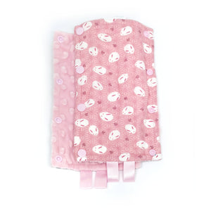 Stroller Strap Protectors-Stroller Protectors-My Babblings™-Pink Mochi Rabbit with light Pink Minky-My Babblings™