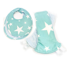 Shining Stars Reversible Curved Droolpads and Bib Set-Droolpads-My Babblings-Light Blue Minky-Shining Stars Droolpads and Bib Matching Set-My Babblings™