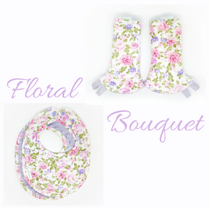 Floral Bouquet Reversible Curved Droolpads and Bib Set - My Babblings™