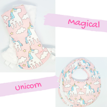 Magical Unicorn Reversible Curved Droolpads and Bib Set-Droolpads-My Babblings-White Minky-Magical Unicorn Droolpads and Bib Matching Set-My Babblings™