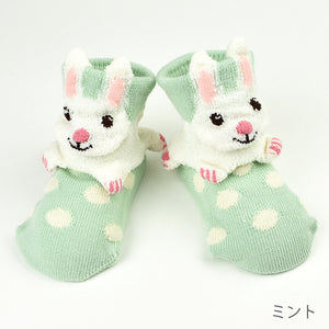 ポプキンズ 3D Pop Up Socks (Made in Japan)-Baby Socks-My Babblings-Mint Rabbit-My Babblings™