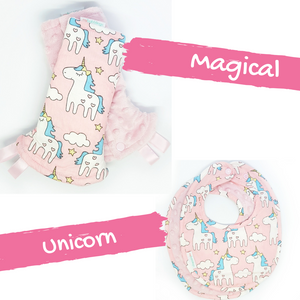 Magical Unicorn Reversible Curved Droolpads and Bib Set-Droolpads-My Babblings-Light Pink Minky-Magical Unicorn Droolpads and Bib Matching Set-My Babblings™