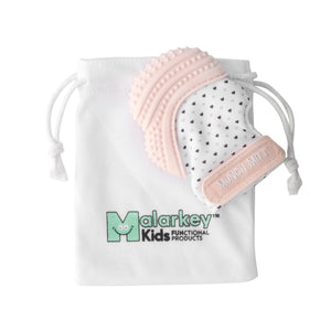 Munch Mitt-Teether-My Babblings™-Pastel Pink Hearts-My Babblings™