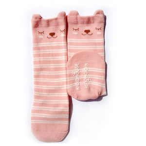 Animal Knee High Socks with Ears-Baby Socks-My Babblings-Baby Size-Cherie Bearie (Pink Stripes)-My Babblings™