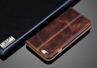 Crazy Horse Leather iPhone Wallet Case