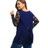 Long Lace Trim Ripped Tops (Plus Size) Women Clothing
