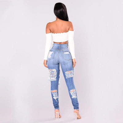 Destroyed Skinny Ripped Jeans For Women