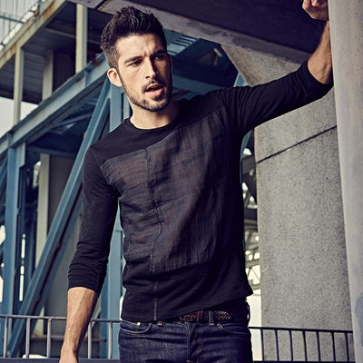Black Patchwork Long Sleeve T-Shirts for Men
