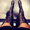 Sexy Black High Heel Gladiator Peep Toe Lace Up Thigh High Boots Shoes for Women