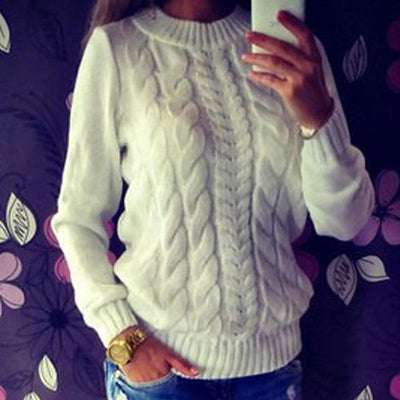 Solid Color O-Neck Long Sleeved Knitted Sweater Women/ Soft Pullovers
