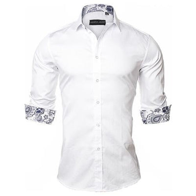 Men's  Casual Style Long Sleeve Solid 100% Cotton Slim Fit Shirt