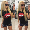 Sexy Red Lips Sequin- T-shirt for Women