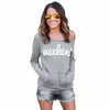 Gray Women Blouse 'Weekend'Letters Printed Long Sleeve Sweater Tops