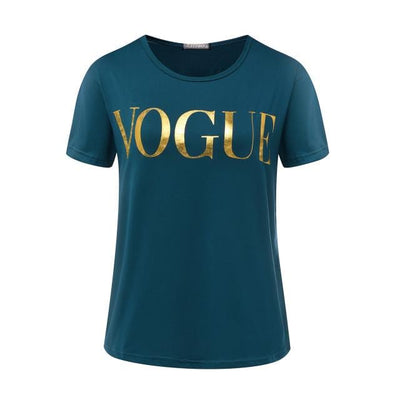 VOGUE Gold Print Shining Letter T-shirt for Women