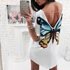 Women White Backless T-shirt Dress