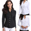 Ladies Business/Casual Solid Button Top for Women